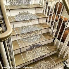 Easy decorating ideas on a budget using mandala stencil patterns from Cutting Edge Stencils for your DiY staircase makeover Wall Stencil Designs, Stencil Wood, Stencil Diy, Stencil Patterns, Stenciling, Damask Stencil, Custom Stencils, Staircase Makeover, Staircase Remodel