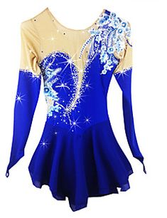 745829ae52 [$155.99] Figure Skating Dress Women's Girls' Ice Skating Dress Aquamarine  Flower Spandex High Elasticity Competition Skating Wear Handmade Solid  Colored ...