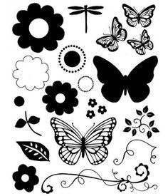 Sello transparente mariposas y flores