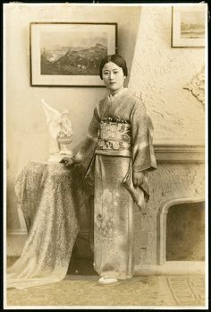 A women in a kimono. This photo is from a pre-WWII Japanese family album