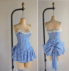 vintage rare 1950s showgirl costume / blue gingham burlesque showgirl dance costume / Trapeze Artist