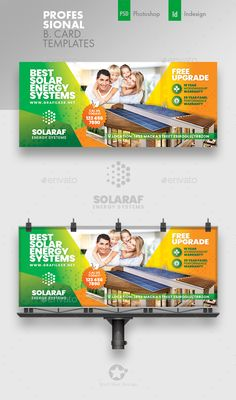 Buy Solar Energy Billboard Templates by grafilker on GraphicRiver. Solar Energy Billboard Templates Fully layered INDD Fully layered PSD 300 Dpi, CMYK IDML format open Indesign or . Solar Energy System, Solar Power, What Is Green, Alternative Energy Sources, Billboard Design, Renewable Sources Of Energy, Solar Projects, Science And Nature, Card Templates
