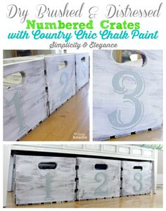 Make your own stunning numbered crates out of inexpensive crates purchased at a big box store - easy tutorial for these at The Happy Housie