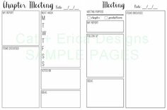 Pages for Chapter Meetings and other meetings (exec, Panhellenic, Order of Omega...) to keep you organized!