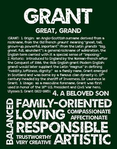 GRANT Personalized Name Print / Typography Print / by OhBabyNames