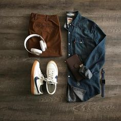 Levi's shirt, chinos, and those shoes!