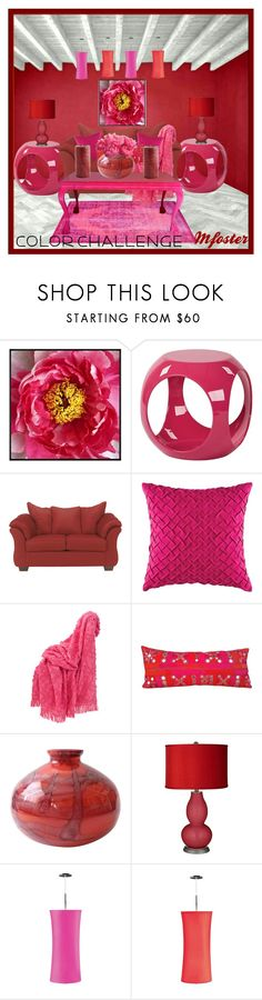 """""""Color Challenge Red&Pink"""" by mfoster07 ❤ liked on Polyvore featuring interior, interiors, interior design, home, home decor, interior decorating, Pottery Barn, AveSix, Signature Design by Ashley and KAS Australia"""