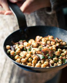 Chickpeas with Chanterelle Mushrooms and Black Truffles...use a vegan butter