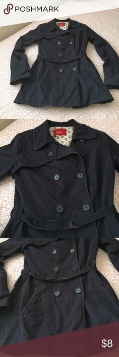 """Mossimo Peacoat Style jacket Light navy colored Peacoat by mossimo. Preloved item, nonsmoking home. Adorable flower print inside. Measures- 24.5"""" long on the sleeves, 27"""" long in length, about 17"""" pit/pit and about 24"""" around waist. Has small belt at waist. Cute!! No imperfections that are noticeable except color isn't as bright anymore. Pricing reflects condition. Mossimo Supply Co Jackets & Coats Pea Coats"""