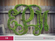 10 Novel Monogram Ideas: Customize Moss monogram decor with a personalized Wedding Monogram.