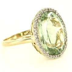 Estate 14 Karat Yellow Gold Prasiolite Green Amethyst Diamond Cocktail Ring