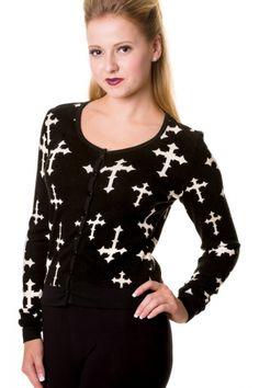 Banned Gothic Cross Cardigan - Black / White