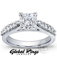 1.25 ct F-G SI1 Princess Cut Diamond Engagement Ring in 14K White Gold     $4029.00 usd