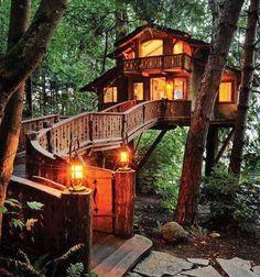 Case sull'albero - Casa sull'albero illuminata