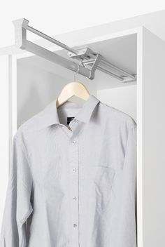 Space saving Rail for Wardrobe applications, with a Pull Out Hanging Rail which allows unsurpassed access to your clothes
