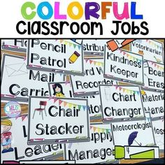 Students LOVE these colorful classroom jobs - perfect for any elementary classroom! Classroom jobs are the easiest way to quickly improve your classroom management! Elementary Science Classroom, Classroom Jobs, Classroom Organization, Elementary Schools, Classroom Management, Upper Elementary, Classroom Decor, Future Classroom, Organization Ideas