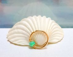 Gold Nose Ring  Opal Nose Hoop Nose Piercing Ring by HelenJewelryK