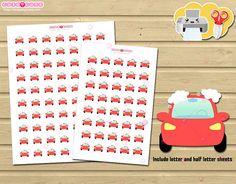 Car wash icon set Printable Planner Stickers for Erin Condren - Happy Planner printable - Planner and organize