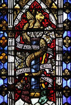 Detail of a medieval stained glass window in Wells Cathedral / angleterre