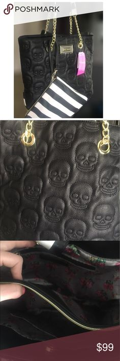 Betsey Johnson embossed black skull purse handbag Betsey Johnson vegan leather shoulder bag purse tote embossed quilted stitched skeleton skull pattern. Interior is a floral Print. Comes with small clutch black and white stripe design.  Gold toned hardware chain Betsey Johnson Bags Shoulder Bags