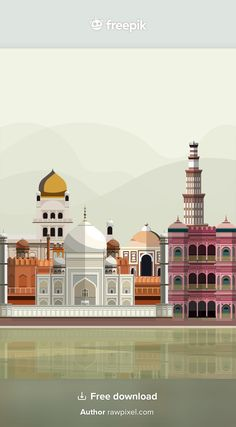 Travel And Tourism, Taj Mahal, Vector Free, Videos, Illustration, Illustrations