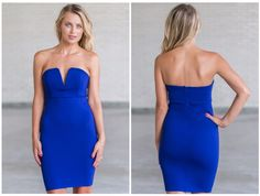 This royal blue cocktail dress has a v dip in the center:  http://ss1.us/a/Se0ATcgU