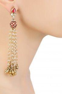 Gold Finish Maroon And Kundan Stones Pearls Chain Hanging Earrings #artkarat #jewellery #shopnow #ppus #happyshopping