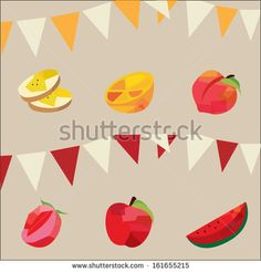 Retro Vintage Fruit Party Stock Vector 161655215 : apple, background, banana, basket, birthday, candy, card, celebration, colorful, decor, decorative, delicious, design, fancy, farm, flags, food, fresh, fruit, garden, graphic, greeting, happy, icons, illustration, isolated, juice, label, market, modern, natural, orance, orange, organic, party, peach, produce, red, retro, set, strawberry, summer, sweet, trendy, vector, vintage, watermelon, yellow, yummy