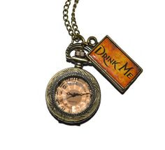 Pocket Watch Alice in Wonderland Drink Me Small by SilkyGifts