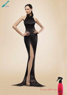 [1/3] Convertir el pelo en vestido. Esto fue lo que hizo este anunciante para promocionar los beneficios de su producto.