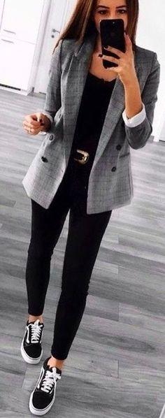 casual outfits for work / casual outfits ; casual outfits for winter ; casual outfits for women ; casual outfits for work ; casual outfits for school ; Look Blazer, Grey Blazer Outfit, Plaid Blazer, Black Sneakers Outfit, Vans Outfit, Black Pants Outfit, Vans Old Skool Outfit, Women's Sneakers, Outfits With Black Vans