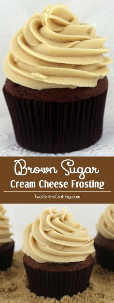 Brown Sugar Cream Cheese Frosting  - a unique twist on a classic frosting that combines the tang of cream cheese with the flavor of cookie dough.  Yum, yum!  This Fall Frosting is super delicious and so easy to make. Your family will beg you to make this brown sugar cream cheese homemade icing again and again. Top any fall treat or Thanksgiving dessert with this homemade frosting.  Follow us for more great Frosting Recipes!