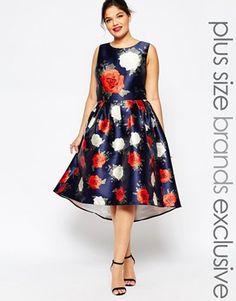 Chi Chi London Plus Rose Printed Hi Lo Prom Dress