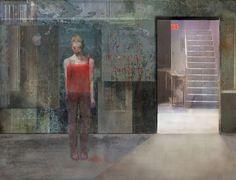 "Mania Efstathiou, ""Exit Sign"", digital collage printed on plexiglas Exit Sign, Digital Collage, Solitude, Plexus Products, Shoulder Dress, Prints, Edward Hopper, Painting, Dresses"