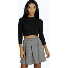 Boohoo Uma Dogtooth Box Pleat Skater Skirt ($20) ❤ liked on Polyvore featuring skirts, multi, boho skirt, flared skirt, a line maxi skirt, midi maxi skirt and a line skirt