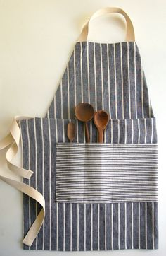 Make an adjustable unisex apron from reuse fabric... Could use old button down shirts for pockets...