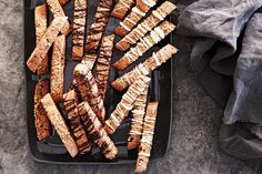 These double-chocolate biscotti make a sweet treat for those with gluten dietary restrictions (though no one will believe they're gluten-free!). Gluten Free Cakes, Gluten Free Baking, Gluten Free Desserts, Vegan Gluten Free, Gluten Free Recipes, Dessert Recipes, Chocolate Cookie Recipes, Gluten Free Chocolate, Chocolate Cookies