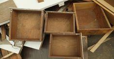Repurpose old drawers 1 Kasten, 1000 Gesichter Retro Dresser, Old Dresser Drawers, Furniture Makeover, Diy Furniture, Diy Casa, Trash To Treasure, Repurposed Furniture, Diy Home Decor, Recycling
