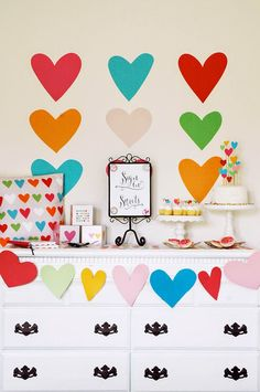 We love this party decor for a colorful baby shower. Check out Jessica at Diy Birthday Decorations, Birthday Party Themes, Happy Birthday, Colorful Baby Showers, Heart Party, Festa Party, Valentines Day Party, Birthday Photos, Baby Shower Themes