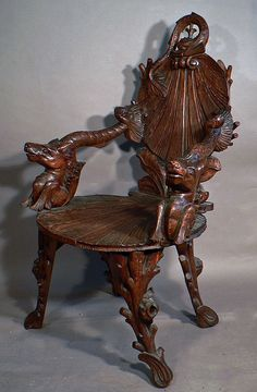 finely carved seashell grotto armchair ca. 1880