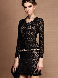 Lace Embellished Fake Two Piece Dress Black