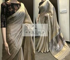 Hand Embroidered Linen Saree With Woven Pallu And Ajrak Printed Blouse. Indian Attire, Indian Wear, Indian Outfits, Indian Clothes, Indian Dresses, Desi Clothes, Ethnic Sarees, Indian Sarees, Kerala Saree