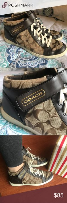 Coach Authentic Print High Top Sneakers Size 10 Small wear but they're still in excellent condition as pictured. Very cute shoes and fit true to size to a 10. Offers welcome🌟 Coach Shoes Sneakers