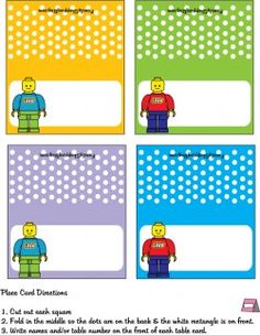 Seat Cards, Lego, Place Cards, cake toppers,banner, and more Free Printable