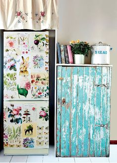 Poppytalk - home decor Flea Market Decorating, Decorating On A Budget, Upcycled Furniture, Painted Furniture, Patterned Furniture, Fridge Makeover, Fridge Decor, Decoupage, Farmhouse Furniture