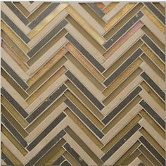 "Oceanside Glasstile...Collection Name: Avani...Color Name: Chill...Components: Murgiano Nova Gold, ...Components:  Cane Matte, ...Components:   Cane Irid...Item Description: Herringbone...Square Feet Per Sheet: 1.2...Nominal Size: 10 5/8"" x 10 5/8""...Thickness: .375""...Sample Item Number: AD-PS0211"