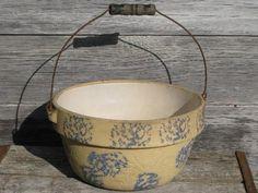old spongeware bowl, salt glazed stoneware crock w/ wire bail and wood handle Antique Crocks, Antique Pottery, Glazes For Pottery, Glazed Pottery, Stoneware Crocks, Pureed Food Recipes, Vintage Bowls, Old Kitchen, Mixing Bowls