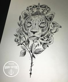 Lioness Crown Tattoo By Denisse We Heart It Ink Neat Work