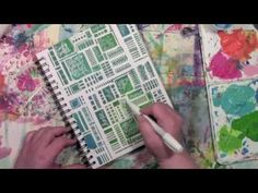 Art journal play with paint and a stencil. Video by Carolyn Dube. Stencil by StencilGirl.
