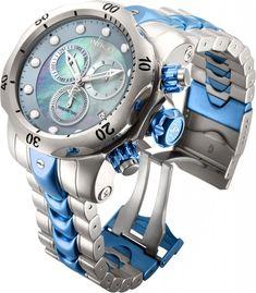 New Invicta 15462 Venom Swiss Chronograph Two Tone Blue Bracelet MOP Dial Amazing Watches, Beautiful Watches, Cool Watches, Rolex Watches, Invicta Mens Watches, Patek Philippe, Devon, Dream Watches, Luxury Watches For Men